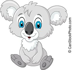 Cartoon adorable koala sitting - Vector illustration of...