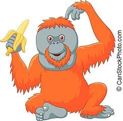 Cartoon orangutan eating banana - Vector illustration of...