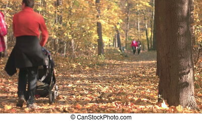 Fall Season in the Forest - people and mother with a...