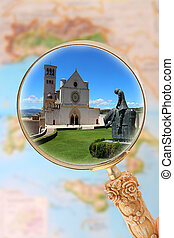 Basilica di Assisi, Italy - Magnifying glass looking in on...