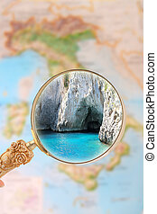 Capri grotto, Italy - Magnifying glass looking in on a...