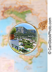 Capri  Italy - Magnifying glass looking in on   Capri, Italy