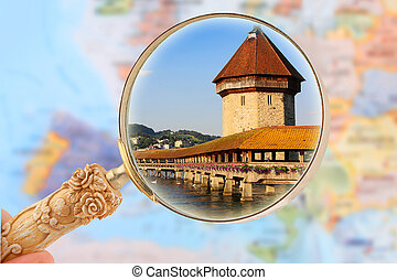 Looking in on Chapel Bridge, Lucerne - Map of Europe with...