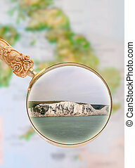 White Cliffs of Dover, England - Magnifying glass looking in...