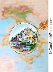 Positano Italy - Magnifying glass looking in on...
