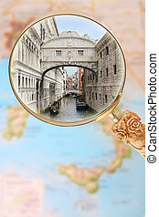 Bridge of Sighs, Italy - Looking in on the Bridge of Sighs...