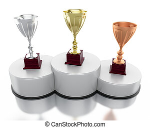3d Golden, silver and bronze trophy cups  on podium.
