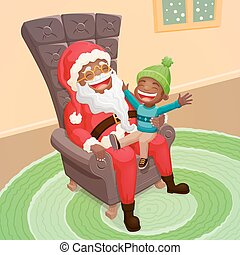 Little boy asking Santa Claus for a big present