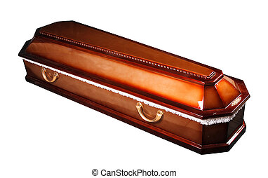 coffin - an ornate mahogany coffin casket with brass handles