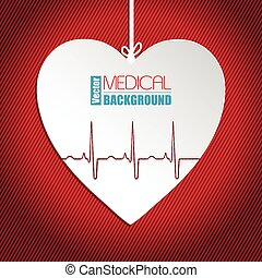 Hanging heart on striped red background - Hanging Ekg heart...