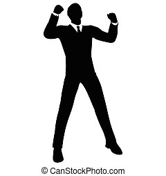 businessman silhouette in gorilla pose - Vector Image -...