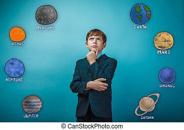 hombre de negocios, joven, Adolescente, niño, Piensa,...