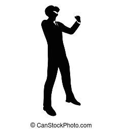 businessman silhouette in gorilla pose
