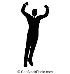 businessman silhouette in gorilla poseV - Vector Image -...