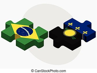 Brazil and Guadeloupe Flags in puzzle isolated on white...