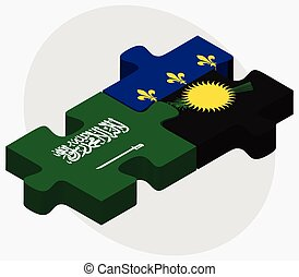Saudi Arabia and Guadeloupe Flags in puzzle isolated on...