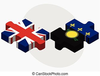 United Kingdom and Guadeloupe Flags in puzzle isolated on...