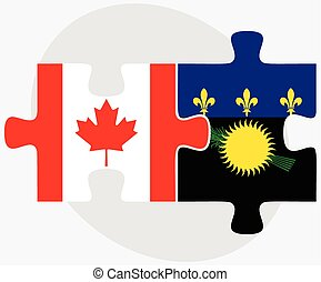 Canada and Guadeloupe Flags in puzzle isolated on white...