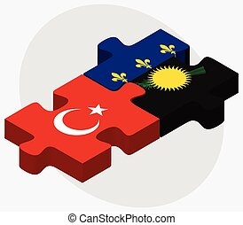 Turkey and Guadeloupe Flags in puzzle isolated on white...