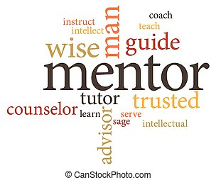 mentor - illustration in word clouds of the word mentor