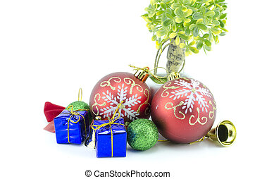 two red ball christmas ornamen with blue gift box, green...