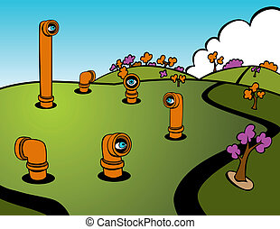 Spies - Cartoon of periscopes popping out of the ground...