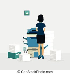 Photocopiers - Female employees are copying documents with...