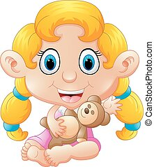 girl holding bear doll - vector illustration of girl holding...