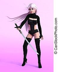 Manga girl posing with sword.