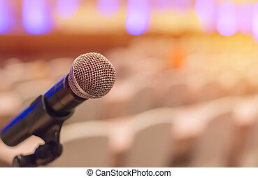 microphones in meeting room before a conference
