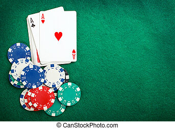 poker two aces, place for text - Stack of chips and two aces...