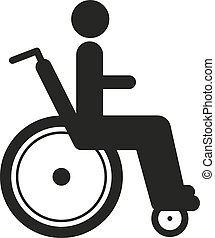 Disabled person in wheelchair - Black icon disabled person...