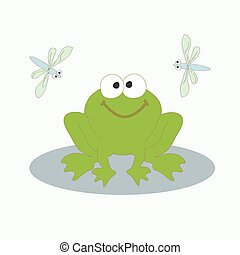 Green frog and dragonfly - Vector illustration The image of...