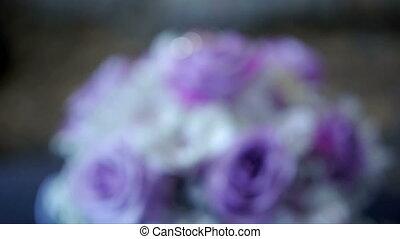 Tender bridal bouquet top view. Bride's bouquet.