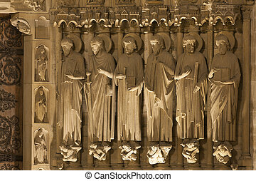 Detail in the Cathedral of Notre Dame, Paris, Ile de France,...