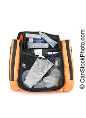 Orange toiletry bag - open orange toiletry bag isolated on...