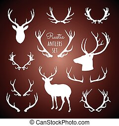 Rustic Antlers Set - Set of rustic antler designs and...