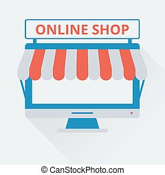 two-tone icon online store - Vector illustration. Flat...