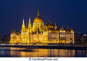 Hungarian Parliament Building, Budapest - A side view of the...