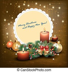 Christmas greetings - Christmas background with candles and...