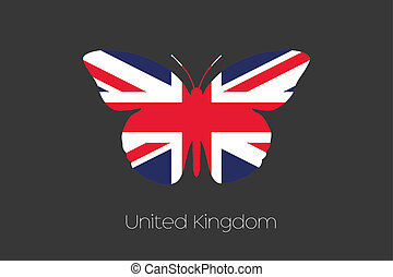 Butterfly with the flag of United Kingdom