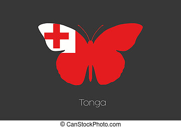 Butterfly with the flag of Tonga - A Butterfly with the flag...