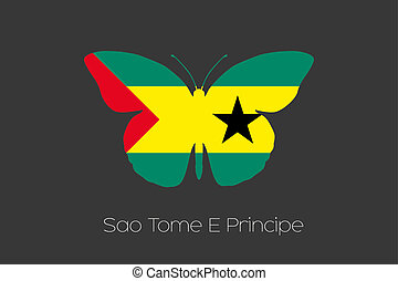 Butterfly with the flag of Sao Tome E Principe - A Butterfly...