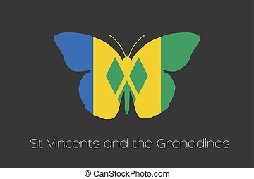 Butterfly with the flag of Saint Vincents and the Grenadines...