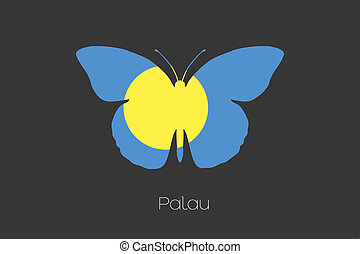 Butterfly with the flag of Palau - A Butterfly with the flag...