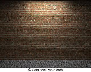 illuminated brick wall