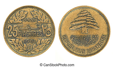 25 piastres or piasters - money of Lebanon. Obverse and...