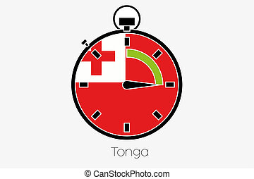 Stopwatch with the flag of Tonga - A Stopwatch with the flag...