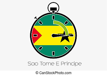Stopwatch with the flag of Sao Tome E Principe - A Stopwatch...
