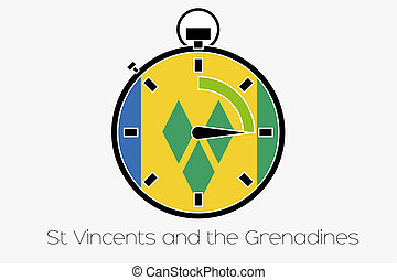 Stopwatch with the flag of Saint Vincents and the Grenadines...